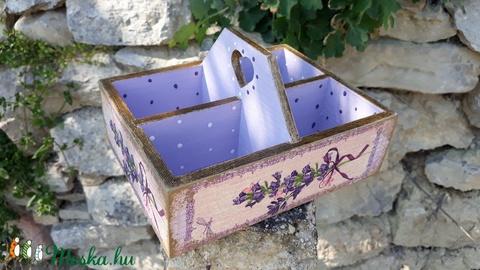 Vintage stílusú levendulás tároló doboz osztott négyes (vintageajandek) - Meska.hu