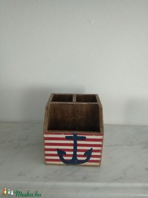 Vintage stílusú tengerész mintás tároló doboz/tolltartó/smink tartó (vintageajandek) - Meska.hu