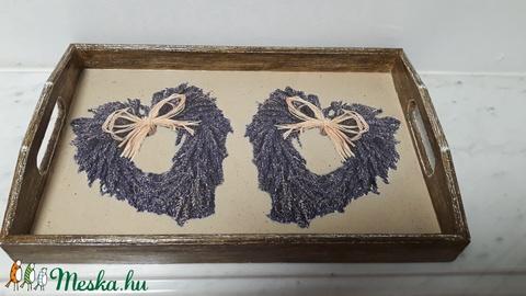 Vintage stílusú levendulás tálca fából (vintageajandek) - Meska.hu