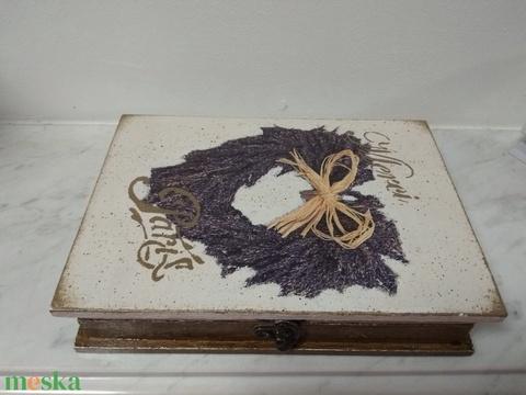 Vintage  levendulás ékszertartó doboz/varrós doboz könyv formájú (vintageajandek) - Meska.hu