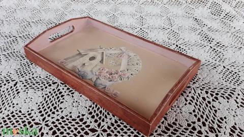 Vintage stílusú koszorú-házikó mintás tálca fából (vintageajandek) - Meska.hu