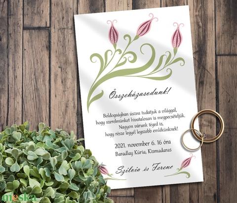 Esküvői meghívó folk art inda - Meska.hu