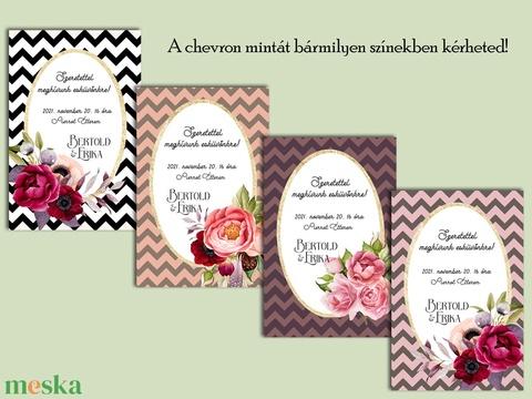Esküvői meghívó chevron minta - Meska.hu