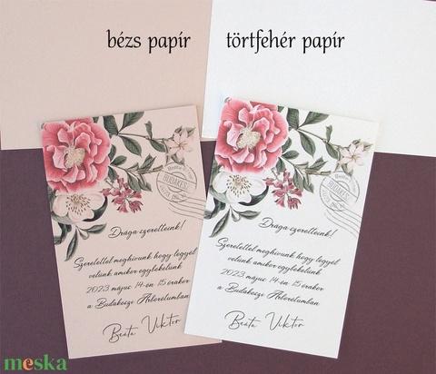 Vintage esküvői meghívó - Meska.hu