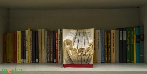 READ feliratos hajtogatott könyv-egyedi 4 betűs szöveg-szerelmespároknak-esküvőre-Könyvtár-Olvas-E209 - Meska.hu