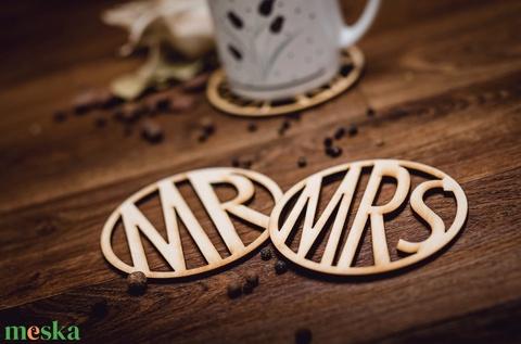 MRS és MR mintájú páros lézervágott fa poháralátét - pároknak - kávénak - nászajándék - esküvőre- A003 - Meska.hu