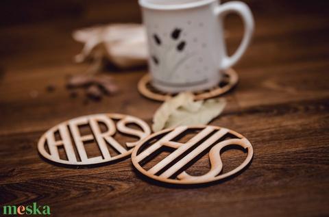 HERS és HIS mintájú páros lézervágott fa poháralátét - pároknak - kávénak - teának - A003 - Meska.hu