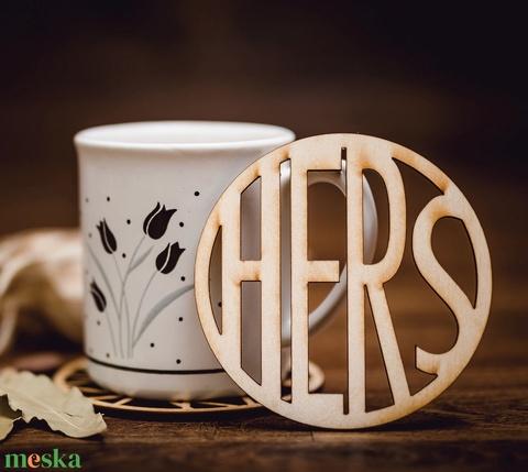 HERS mintájú lézervágott fa poháralátét - kávénak - teának - A005 - Meska.hu