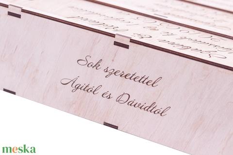 3 palackos Bortartó, Nászajándék boros doboz, Esküvői ajándék, Díszdoboz, Házassági évforduló, Bor NÉLKÜL (wolflaserart) - Meska.hu