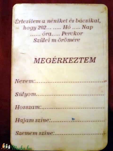 Megérkeztem gólyás - üdvözlőlap fából (YoGaby) - Meska.hu