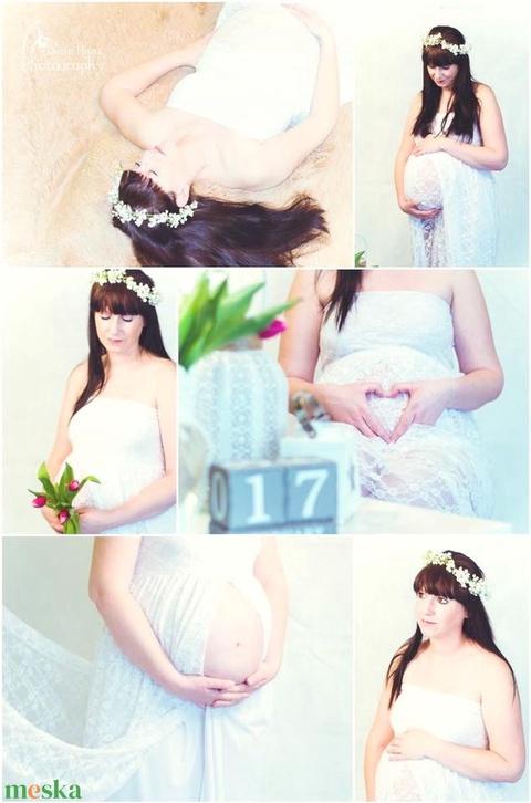 Fehér teljes csipke  kismama ruha (Zebubaby) - Meska.hu