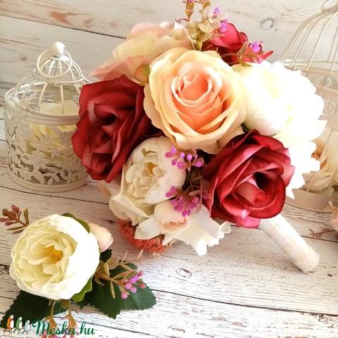 Vintage romantikus rózsás selyemcsokor - Meska.hu