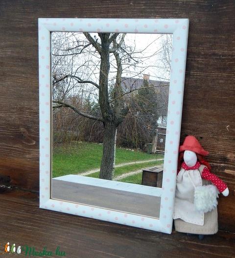 Rózsaszín lencsepöttyös tükör - Meska.hu