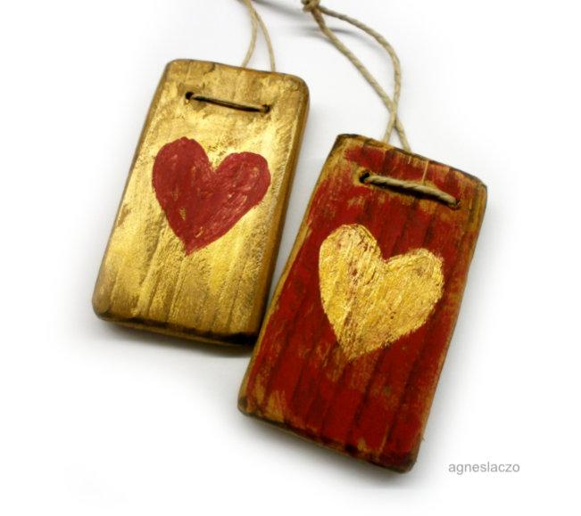 2 szív ( piros-arany) (FANYUVASZTO) - Meska.hu