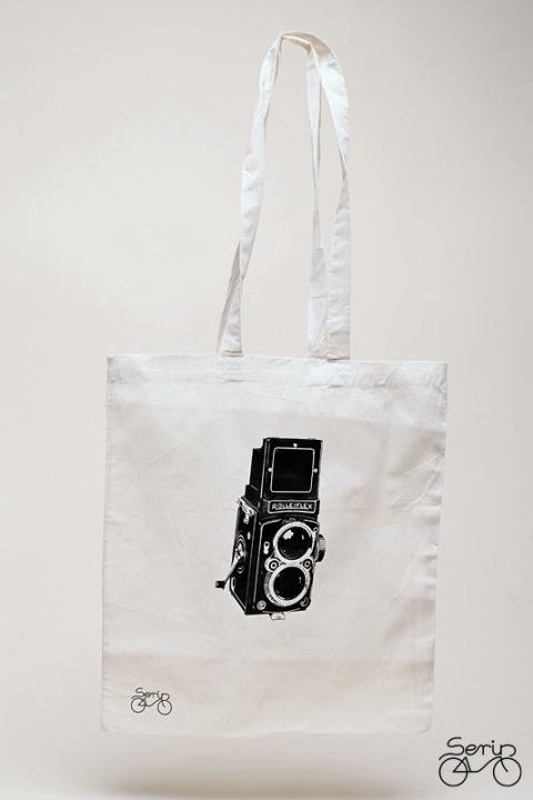 Rolleiflex fényképezőgép mintás szatyor (serin) - Meska.hu