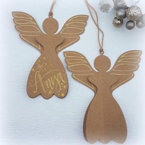 Karácsonyi angyal újrahasznosított papírból 2 db , Karácsony & Mikulás, Karácsonyi dekoráció, Karácsonyi angyalok (2 db-os szett) Az angyalkákat újrahasznosított natúr kartonból készítem, arany ..., Meska