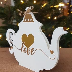 Teaimádóknak - Teafiltertartó teáskannában, Otthon & Lakás, Papír írószer, Ajándékzsák & Csomagolás, Teaimádóknak - Teafiltertartó teáskannában A teáskannát fehér kartonból készítem,  tükörfényes arany..., Meska