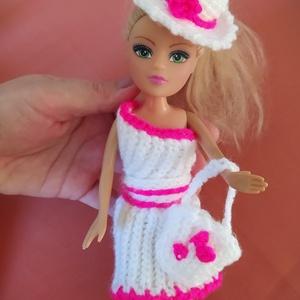 Csinos Babaruha Szett, Játék & Gyerek, Baba & babaház, Babaruha, babakellék, Horgolás, Fehér csillgó és pink (sötétrózsaszín) csillogó fonalból horgoltam ezt a babaruha szettet, ami egy s..., Meska