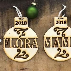 Egyedi karácsonyfadísz -  ÉVSZÁMMAL (adott év évszámával), Karácsony & Mikulás, Karácsonyfadísz, A dísz 2019-es évszámmal készül. Személyre szóló karácsonyi ajándék, ami szép dísze lesz a karácsony..., Meska