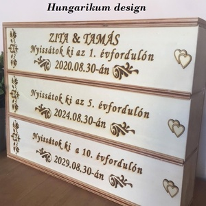 Nászajándék, évfordulós három részes pálinkás doboz (3Dfamuves) - Meska.hu