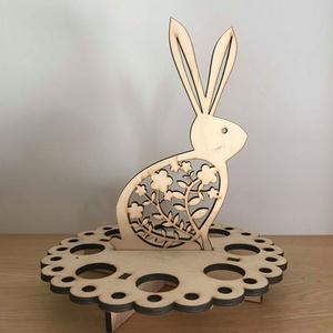 Nagy nyuszis húsvéti tojástartó, Dekoráció, Otthon & lakás, Húsvéti díszek, Ünnepi dekoráció, Famegmunkálás, Húsvéti nyuszis tojástartó fából, 8 db-os. Méret: 25*29 cm. Az ár csak a tojástartó árát tartalmazza..., Meska