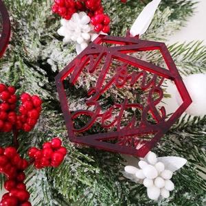 Karácsonyfadísz - Hatszög alakban - Egyedi névvel, Otthon & Lakás, Karácsony & Mikulás, Karácsonyfadísz, Gravírozás, pirográfia, Famegmunkálás, Több évezredes hagyomány egy kis modern csavarral? Erre gondoltunk, amikor elkészítettük nektek ezt ..., Meska