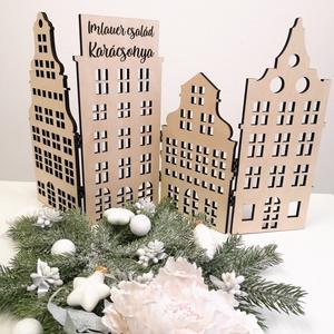 Holland házikók - dekoráció, Otthon & Lakás, Karácsony & Mikulás, Karácsonyi dekoráció, Gravírozás, pirográfia, Famegmunkálás, Karácsonyi vásári hangulat... már érezzük is a forralt bor édeskés illatát miközben a hideg meg-megc..., Meska