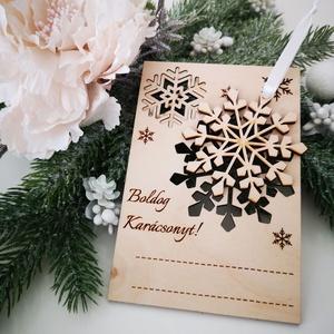 Karácsonyi képeslap - egyedi szöveggel, Otthon & Lakás, Karácsony & Mikulás, Karácsonyfadísz, Gravírozás, pirográfia, Famegmunkálás, Ugye Te is emlékszel még arra, amikor kisgyermekként karácsonykor könyékig ragasztósan és csillámpor..., Meska