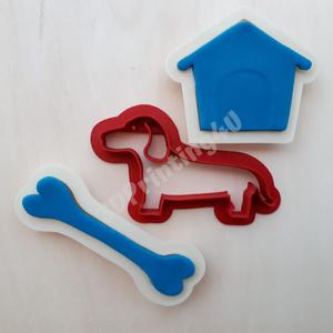Kutya sütikiszúró szett 3db kutya kutyacsont kutyaház süteményszaggató keksz mézeskalács 3D nyomtatás eb kiszúró, Férfiaknak, Konyhafőnök kellékei, Kulinária (élelmiszer), Édességek, Otthon & lakás, Konyhafelszerelés, Fotó, grafika, rajz, illusztráció, Mézeskalácssütés, A kutyus, a kutyacsont, és a kutyaház sütiszaggató formák 3 db-os szettben is megvásárolhatók. A kis..., Meska