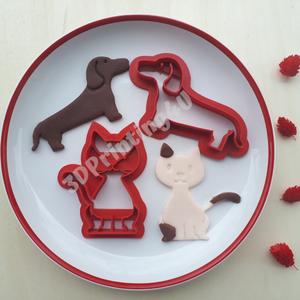 Kutya és Cica sütikiszúró szett 2db süteményszaggató forma keksz mézeskalács 3D nyomtatás tacsi eb macska kiszúró forma (3DPrinting4U) - Meska.hu