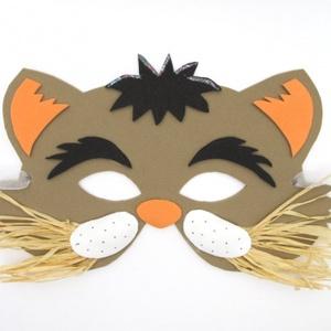 Kackiás macska - viselhető álarc fiúknak és lányoknak, rafia bajusszal, csillámos díszítéssel, dekorgumiból, Egyéb, Játék, Gyerek & játék, Farsangi jelmez, Ünnepi dekoráció, Dekoráció, Otthon & lakás, Báb, Mindenmás, Vidám állatos álarc,fess kandúrok és csinos cicalányok egyaránt viselhetik. Hozzájárulhat a jó hangu..., Meska