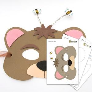 Mézéhes mackó - sablon és csináld magad leírás maszk, farsangi álarc, 3d rugón rezgő méhecske, dekorgumi, medve, maci, Játék, Gyerek & játék, Egyéb, Farsangi jelmez, Ünnepi dekoráció, Dekoráció, Otthon & lakás, Csináld magad leírások, Baba-és bábkészítés, \nEgy mókás, állatfigurát formázó, mézéhes mackó álarc PDF sablonja és fotókkal illusztrált hogyan ké..., Meska