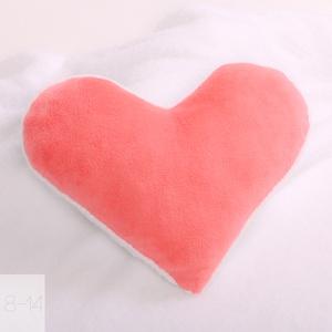 Korall és fehér színű szív alakú párna, Otthon & Lakás, Párna & Párnahuzat, Lakástextil, Pihe-puha párna különleges textúrájú anyagokból.  Tökéletes választás, hogy szobádat színesebbé vará..., Meska