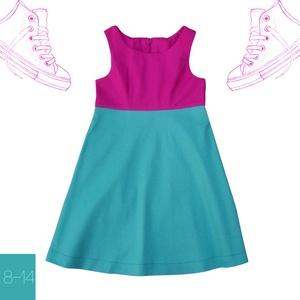Fukszia_lány ruha 146-os (10-11 éves), Táska, Divat & Szépség, Ruha, divat, Gyerekruha, Kamasz (10-14 év), Varrás, Egyedi tervezésű ruhánk divatos színkombinációjával tökéletes választás a suliba, vagy egy csavargós..., Meska
