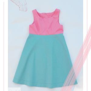 Hortenzia_lányka ruha 146-os (10-11 éves), Táska, Divat & Szépség, Ruha, divat, Gyerekruha, Kamasz (10-14 év), Varrás, Egyedi tervezésű, rózsaszín és türkiz színekben pompázó selyemfényű ruhánk tökéletes választás 10-11..., Meska