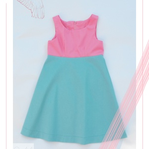 Hortenzia_lányka ruha 152-es (11-12 éves), Táska, Divat & Szépség, Ruha, divat, Gyerekruha, Kamasz (10-14 év), Varrás, Egyedi tervezésű, rózsaszín és türkiz színekben pompázó selyemfényű ruhánk tökéletes választás 10-11..., Meska