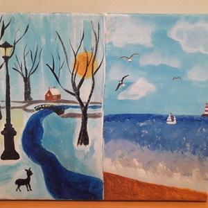 Tél és nyár, Művészet, Festmény, Akril, Festészet, Tél és nyár bemutatása egy képen, az én szemszögemből.\nAkril, 25x30 cm. 100% pamutvászon., Meska