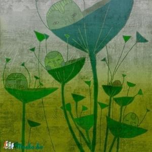 Reggel - zöld kép, Otthon & lakás, Képzőművészet, Illusztráció, 25x25 cm-es print 250 g/m2-es matt műnyomópapíron. A papír mérete 29x29cm, a fehér sávot le lehet vá..., Meska