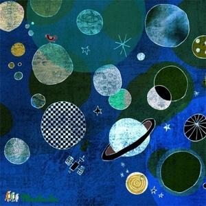 Bolygók - kék nyomat, Otthon & lakás, Dekoráció, Kép, Képzőművészet, Illusztráció, 25x25 cm-es print 250 g/m2-es matt műnyomópapíron. A papír mérete 29x29cm, a fehér sávot le lehet vá..., Meska