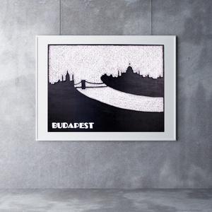 Budapest falikép sziluett string art, Otthon & lakás, Lakberendezés, Falikép, Esküvő, Szövés, Mindenmás, 12 mm-es nyír rétegelt lemezre, string art technikával készítettem a faliképet. A táblát fekete akri..., Meska