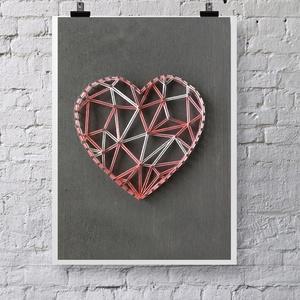 Szív string art, geometriai szív, szives kép, szivárvány, Otthon & lakás, Lakberendezés, Dekoráció, Gyerek & játék, Mindenmás, Szövés, 10mm-es nyír rétegelt lemezre, string art technikával készítettem a faliképet. A lemezt szürke fafes..., Meska
