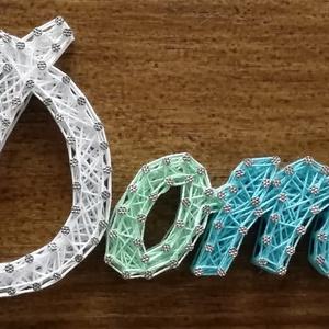 Betűk, Bababetűk, névátbla gyerekeknek, Gyerek & játék, Dekoráció, Otthon & lakás, Gyerekszoba, Mindenmás, Szövés, 12mm-es nyír rétegelt lemezre, string art technikával készítettem a névtáblát. A lemezt  vékonylazúr..., Meska