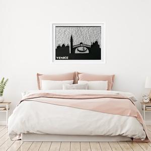 Velence falikép sziluett string art, Otthon & lakás, Lakberendezés, Falikép, Esküvő, Szövés, Mindenmás, 12 mm-es nyír rétegelt lemezre, string art technikával készítettem a faliképet. A táblát fekete akri..., Meska