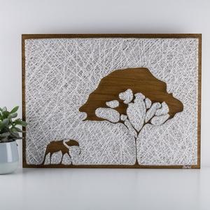 Szafari String Art, elefánt, Afrika, Otthon & lakás, Lakberendezés, Férfiaknak, Esküvő, Mindenmás, Szövés, 12mm-es nyír rétegelt lemezre, string art technikával készítettem a faliképet. A lemezt dió vékonyla..., Meska