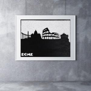 Róma falikép sziluett string art, Otthon & lakás, Lakberendezés, Falikép, Esküvő, Szövés, Mindenmás, 12 mm-es nyír rétegelt lemezre, string art technikával készítettem a faliképet. A táblát fekete akri..., Meska