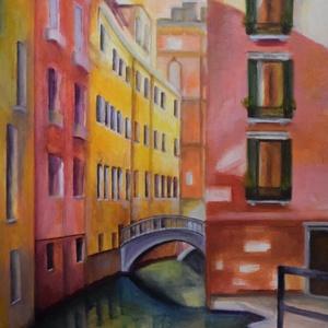 """Velence, Művészet, Festmény, Akril, Festészet, Velence az \""""Adria királynője\"""", a \""""víz városa\"""", most színes ruhájában csábít.\nFeszített vászonra kész..., Meska"""