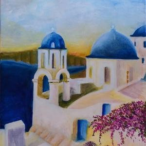 Santorini, Művészet, Festmény, Akril, Festészet, Görögország, Santorini, nyár, meleg, napsütés. Egész évben tudnánk élvezni. \nHa nem is minden részét..., Meska