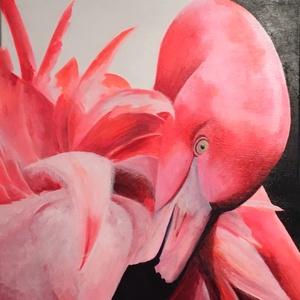 Flamingo, Művészet, Festmény, Akril, Festészet, Egy igazán vidám színvilág, egy jó hangulatú festmény, ami a mai modern világba illik.\nLegyen szó na..., Meska