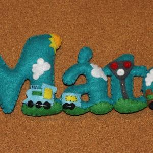 Filc név felirat, Gyerek & játék, Gyerekszoba, Varrás, Filcből készült felirat, ami egyedi ajándék lehet babalátogatáskor, szülinapra, vagy bármilyen alkal..., Meska