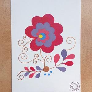 Bazsarózsa indákkal - népi motívum alapján, Akril, Festmény, Művészet, Festett tárgyak, Ezzel a motívummal először hímzésen találkoztam, később olvastam róla, hogy népszerű szűcsvirág volt..., Meska